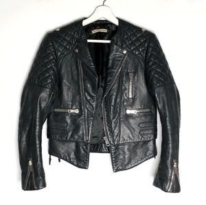 Balenciaga Black Leather Moto Biker Quilted Jacket